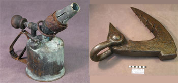 A tractor blowtorch (left) and an ice anchor from Cape Royds (right) © Antarctic Heritage Trust