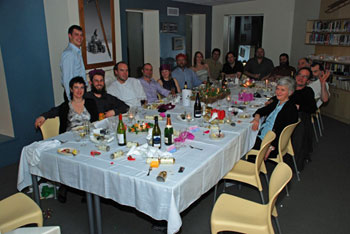 The 2008 Scott Base winter crew after our delicious mid-winter dinner © Pete de Joux