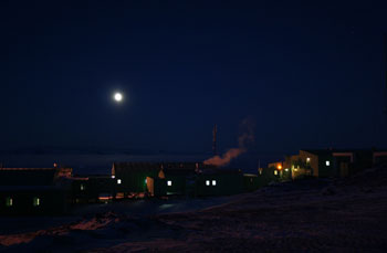 A moonlit Scott Base in June © N Dunn / AHT