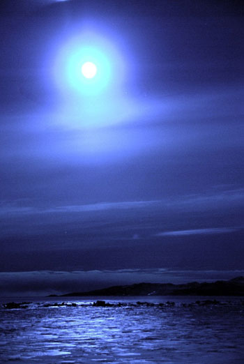 A high bright moon over Black Island - ideal for taking readings © Antarctic Heritage Trust