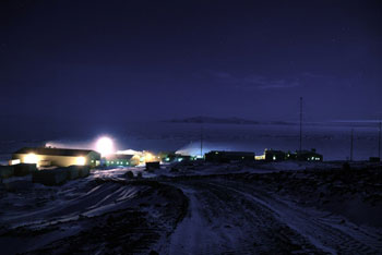 Scott Base and Ross Sea by moonlight © Antarctic Heritage Trust
