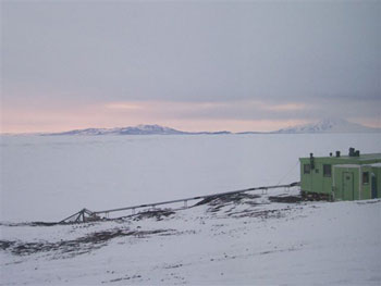 Black Island on the left and Mt. Discovery on the right as seen from Scott Base © Antarctic Heritage  Trust