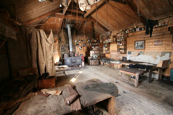 The interior of Sir Ernest Shackleton's 1907 expedition base at Cape Royds © Antarctic Heritage Trust