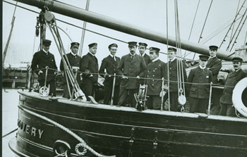 Commander Scott and his men onboard their ship Discovery moored at Lyttelton harbour in 1901 © Antarctic Heritage  Trust
