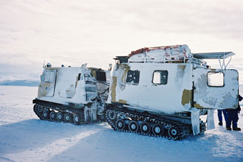 Hagglund used to transport artefacts and our team across the frozen sea ice © Antarctic Heritage Trust