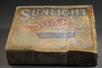 A box of sunlight soap after some initial surface cleaning © Antarctic Heritage  Trust