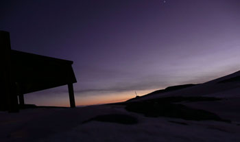 Sunrise over Discovery Hut July 2008 © Antarctic Heritage Trust
