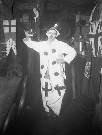 Tryggve Gran as a clown at the mid-winter dinner, 22 June 1912 © G Scott Polar Research Institute