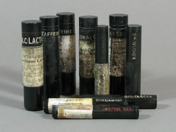 Some of the Burroughs and Wellcome & Co medical vials from Captain Scott's base at Cape Evans © Antarctic Heritage  Trust