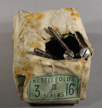 Nettlefolds screws before treatment © Antarctic Heritage  Trust