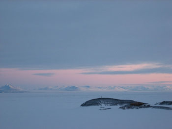 View from the chapel window: McMurdo Sound, Hut point and Transantarctic Mountains © Antarctic Heritage Trust