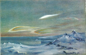 Painting by Wilson: 'Iridescent clouds - looking north from the ramp on Cape Evans, August 9th 1911' © Edward W ilson, Diary of the Terra Nova Expedition to the Antarctic, 1910 - 1912, Blandford Press, London, 1972