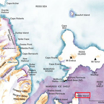 Map of Ross Island © Antarctica New Zealand