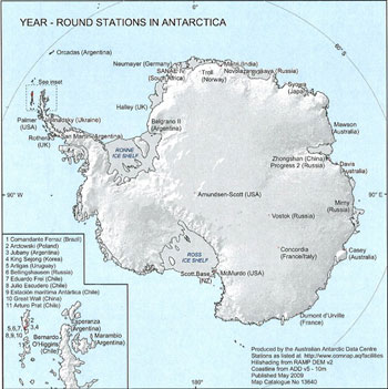 Year-round stations in Antarctica © Australian Antarctic Data Centre