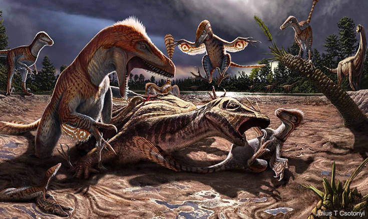 Pack of Utahraptor dinosaurs attacking Hippodraco