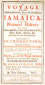 Title page to Volume 1, Sloane's Natural History.