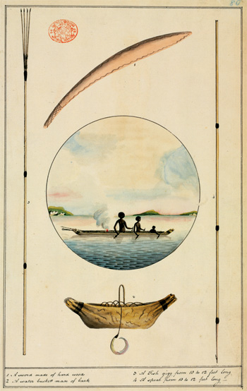 Fishing scene with Aboriginal implements